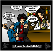 Drowning the pain with Alcohol by Maverick22