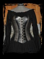 pewter leather corset by Lagueuse