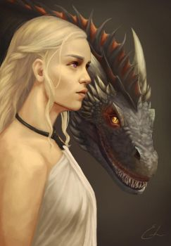 Daenerys Targaryen with Drogon by summerintevinter