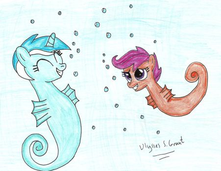 Sea Pony Lyra and Scootaloo by UlyssesGrant