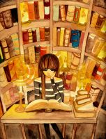 Drowning in the Sea of Books by Cephis