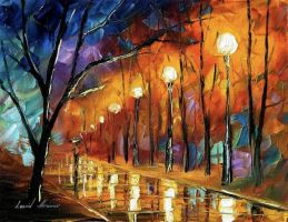 Rain before Christmas by Leonid Afremov by Leonidafremov