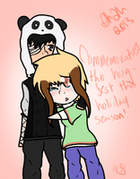 Hug-fest - Keizo and Rena chibis by Samagirl