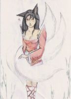 Cute Kitsune Nine Tailed Fox  Kumiho Ahri by Jylwe