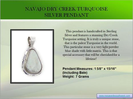 Navajo Dry Creek Turquoise Silver Pendant by mesaverde1