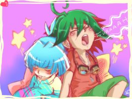 Sleeping Yuya And Sora by XBloodClash-mumblesX