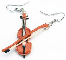 Commission - Cello Earrings by Bon-AppetEats
