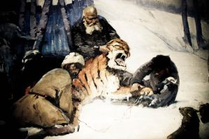 an old man and a tiger by onon