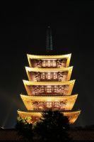 The pagoda of Senso-ji at night by prozzaks