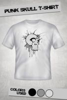 Punk Skull T-Shirt by Buxtheone
