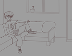 Alex Dell sitting on the sofa (Uncoloured) by LevelInfinitum