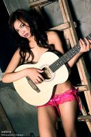Amber in pink panties with guitar by joebbowers