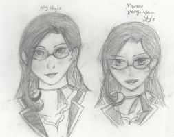 Renee in two different styles by REIdepenguin