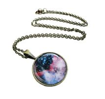 Antique Bronze Midnight Pink Galaxy Necklace by crystaland