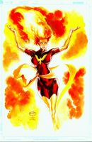 the Dark Phoenix_Watercolor by MichaelBair
