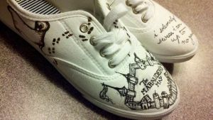 Before Painting Harry Potter Shoes by Scohen2012