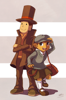 Professah Layton and Luke by DragginCat