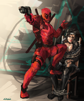 deadpool and catwoman by Lhax