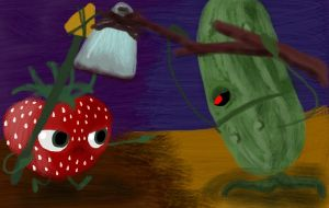 Strawberry and Pickle Battle by TruffulaGirl