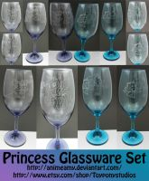 My Little Pony Princess Glass Set (For Auction) by AnimeAmy