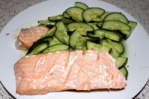 Cucumber And Steamed Salmon Yum by LUSHMONTANAS
