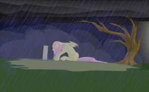 Fluttershy's Grief (vectored) by Iguanodragon