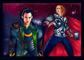 ICE AND THUNDER - Loki and Thor by MakaCheshire
