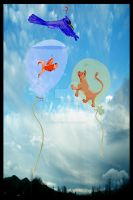 Fish Cat Bird Balloons - 001 by LazyBonesStudios