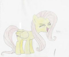 Fluttershy Cheerfully Hand drawn by The-Intelligentleman