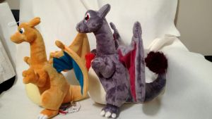 Shiny Charizard plush Comparison pic by LRK-Creations