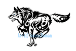 Blue Eyed Running Wolf Tribal by InsaneRoman