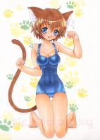 Catgirl in Sukumizu by tickledpinky