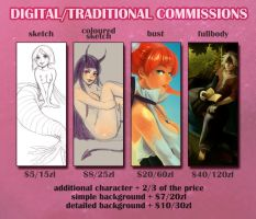 DIGITAL/TRADITIONAL COMMISSION INFO by villainesayre