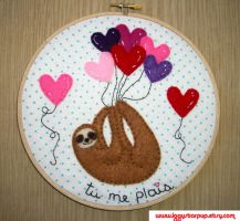 Tu Me Plais Sloth Embroidery Hoop by iggystarpup