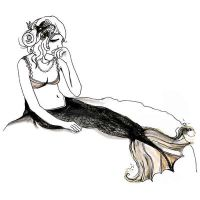 Sad Mermaid Drawing by burntfeather