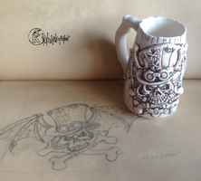 Steampunk Skull Beer Mug by kachaktano