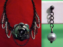 Black Chain Rose Set by BloodRed-Orchid