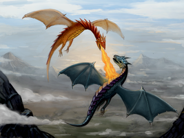 dragons in the sky by InsaneIVI