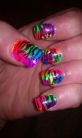 Neon rainbow zebra nails by Angie85