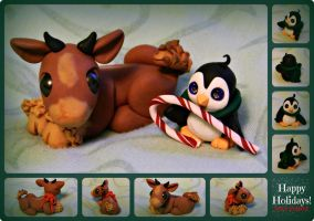 Reindeer and Penguin Holiday Sculptures by MayEsdot