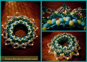 Kandi Blue+Yellow 3D Cuff by Kiara-Ann