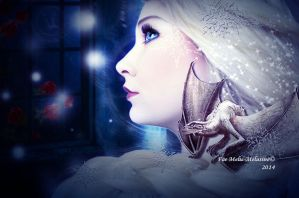 Queen Elsa with a little Dragon by MelieMelusine
