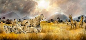 Smilodon family by Chimerum