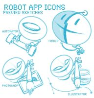 Robot Icons: Preview Sketches by ShrunkenJedi