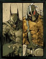 Batman vs Bane by scabrouspencil