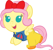 Baby Fluttershy Dressed as Snow White by Beavernator