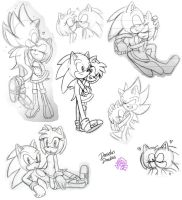 Some SonAmy Doodles! by DanielasDoodles
