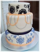 Beads and Floral Wedding cake by clvmoore