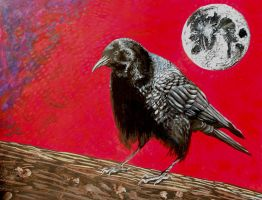 Crow of the moon by Abuttonpress2Nothing