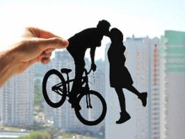 Bicycle Kissing Couple Handmade Original Papercut by DreamPapercut